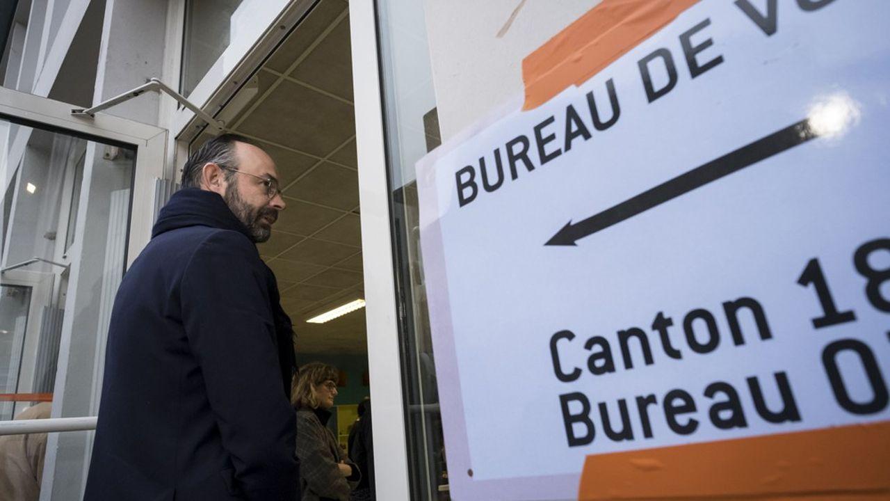 Edouard Philippe se rendant aux urnes, le 15mars dernier, auHavre, pour le premier tour des municipales.