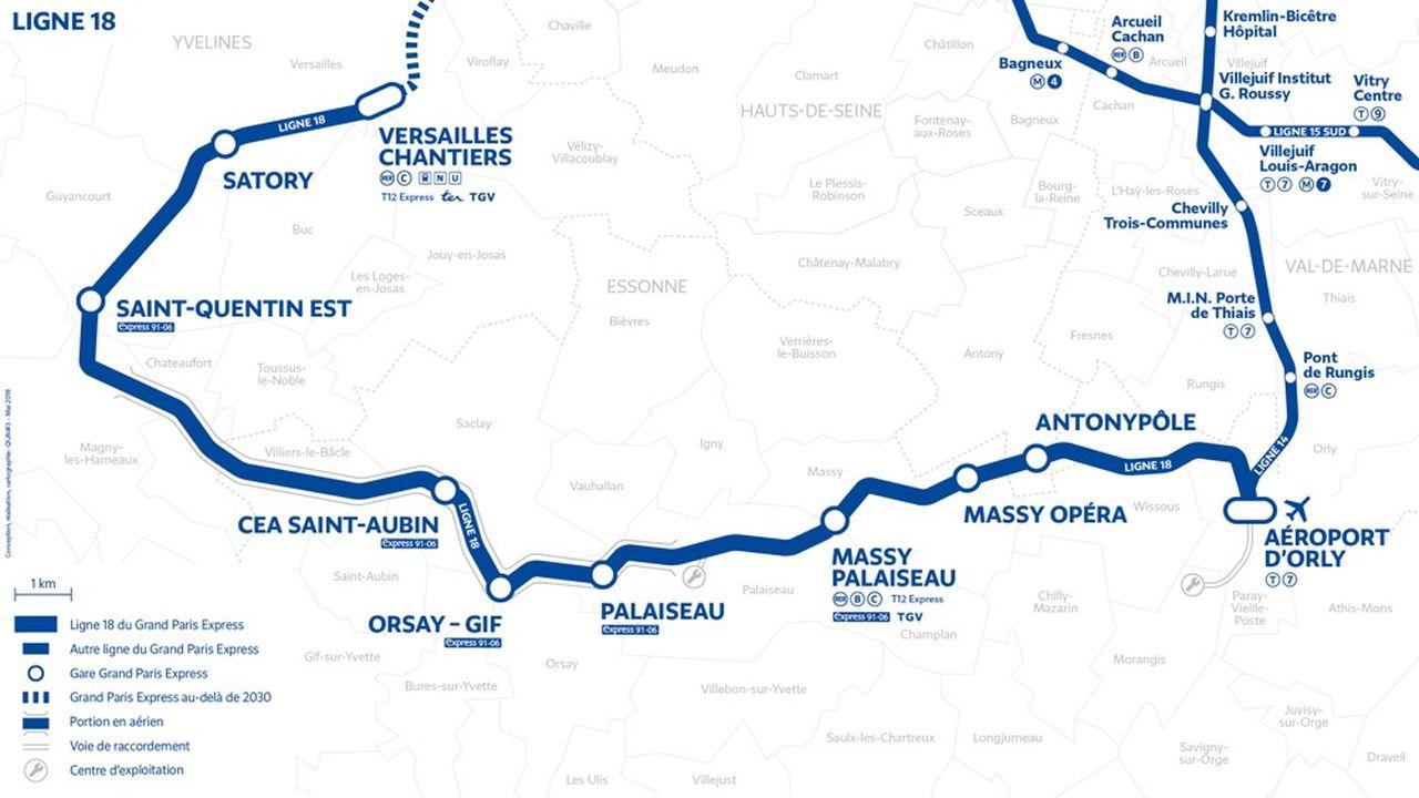 A terme, la ligne 18 reliera l'Aéroport d'Orly à Versailles-Chantiers sur 10 gares en 30 minutes.
