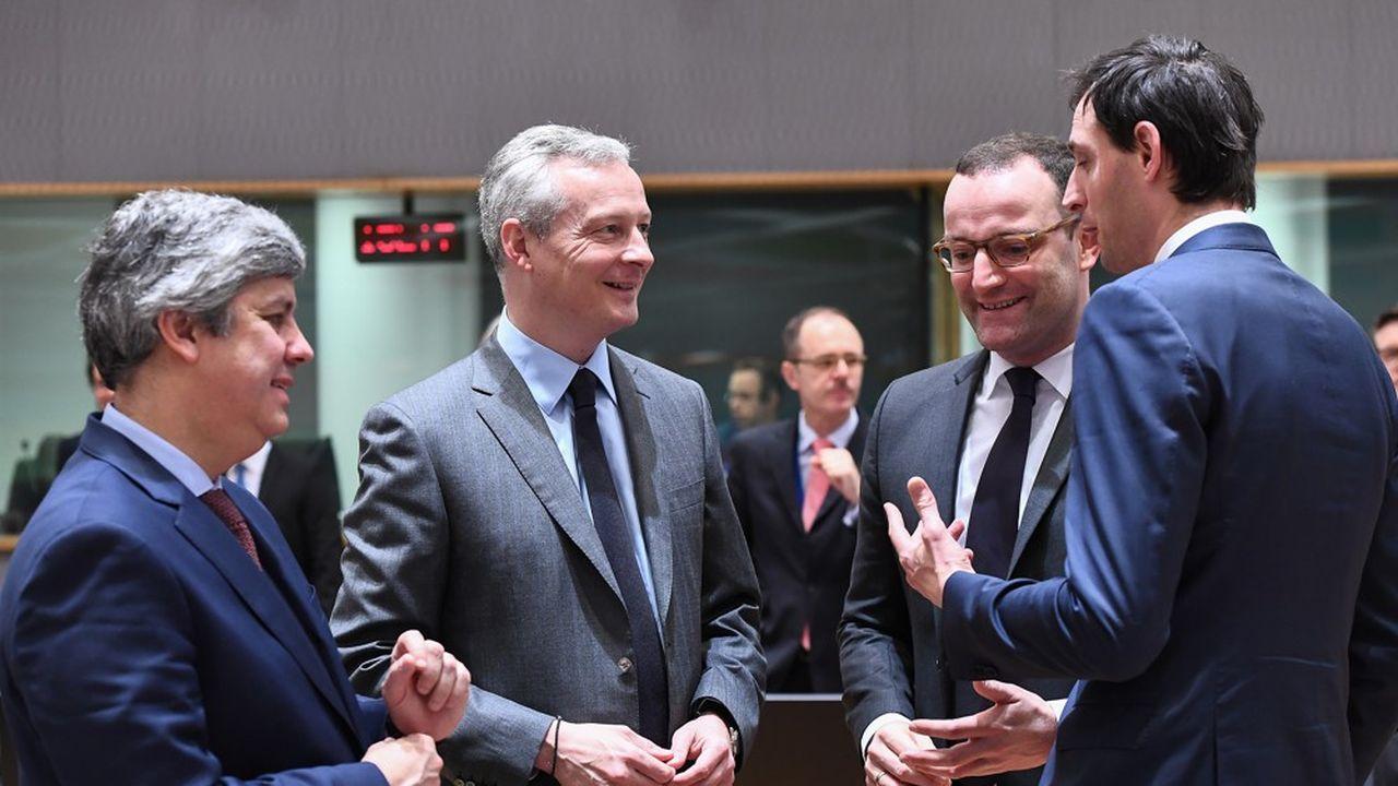 Les ministres des Finances lors d'une réunion Ecofin d'avant le coronavirus, avec de gauche à droite, Mario Centeno, le président de l'Eurogroupe, Bruno Le Maire, l'Allemand Jens Spahn et le Néerlandais Wopke Hoekstra.