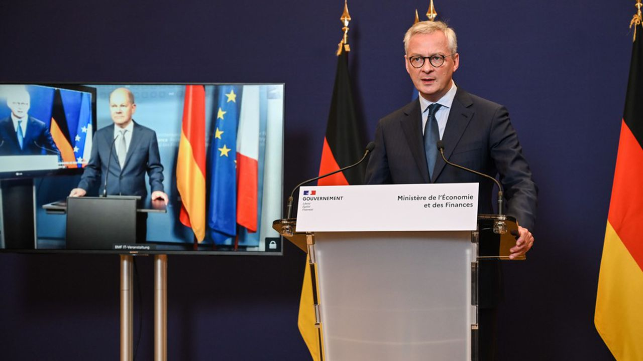 Le ministre des Finances, Bruno Le Maire, a tenu une conférence de presse avec son homologue Olaf Scholz le 19mai.