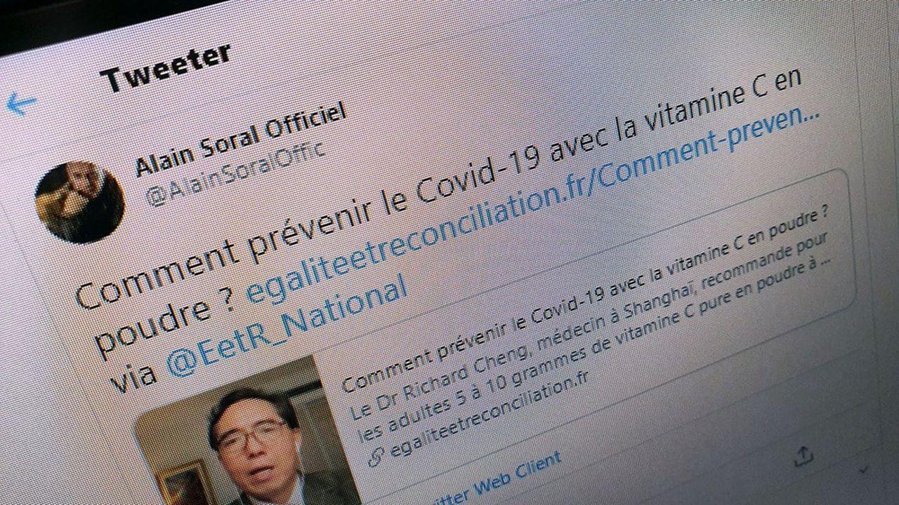 La start-up américaine épingle notamment le compte du polémiste français Alain Soral, qui vante les mérites de la vitamineC face au virus.