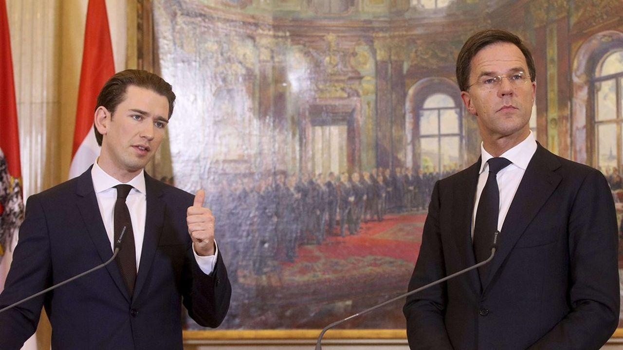 Le chancelier autrichien, Sebastian Kurz, et le premier ministre néerlandais Mark Rutte ont la même vision d'une Europe peu dépensière et peu solidaire.