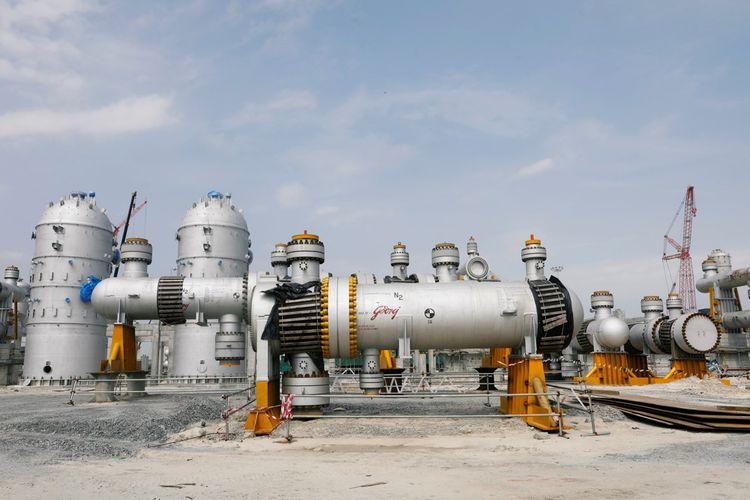Vue de la raffinerie de pétrole à Ibeju Lekki district, dans la banlieue de Lagos