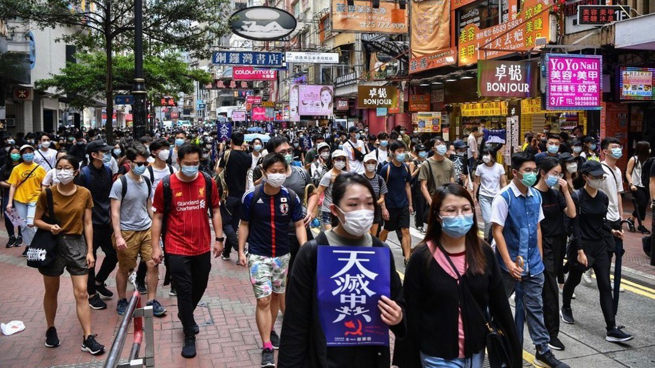 Les manifestants se sont rassemblés dans le quartiercommerçant de Causeway Bay.