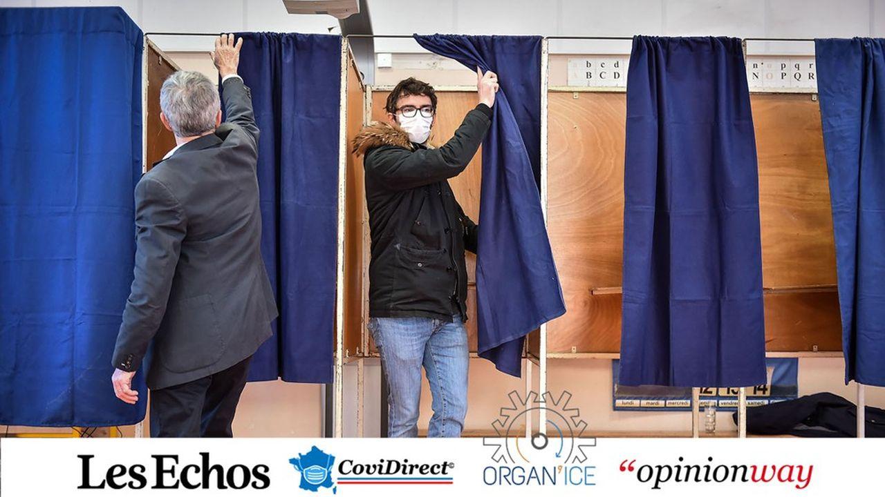 Un bureau de vote lors du premier tour des municipales, le 15mars.