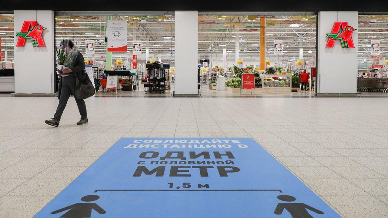 Pour les 311magasins Auchan en Russie, le problème date d'avant le coronavirus. Depuis quatreans, les ventes baissent: de 6,7% en 2016, 9,7% en 2017, 7,9% en 2018, et 7% l'an passé.