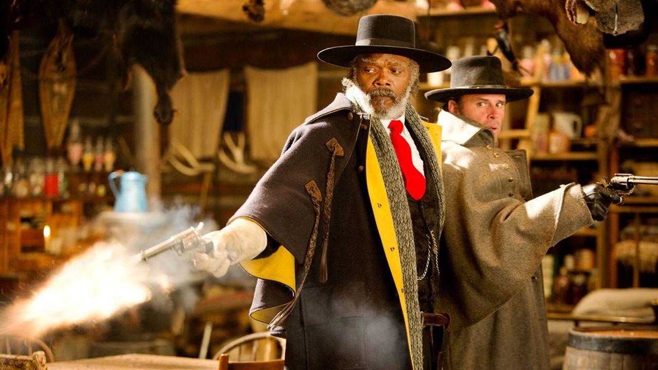 Samuel L. Jackson (le commandant Marquis Warren) et Walton Goggins (le sheriff Chris Mannix) dans «Les Huit Salopards».