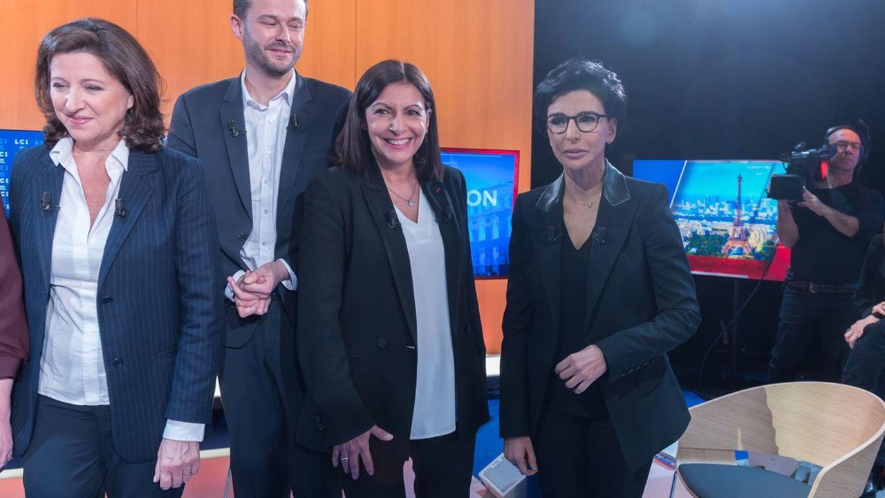 Agnes Buzyn (LREM), David Belliard (EELV), Anne Hidalgo (PS) et Rachida Dati (LR), le 4mars, avant le premier débat télévisé des municipales.