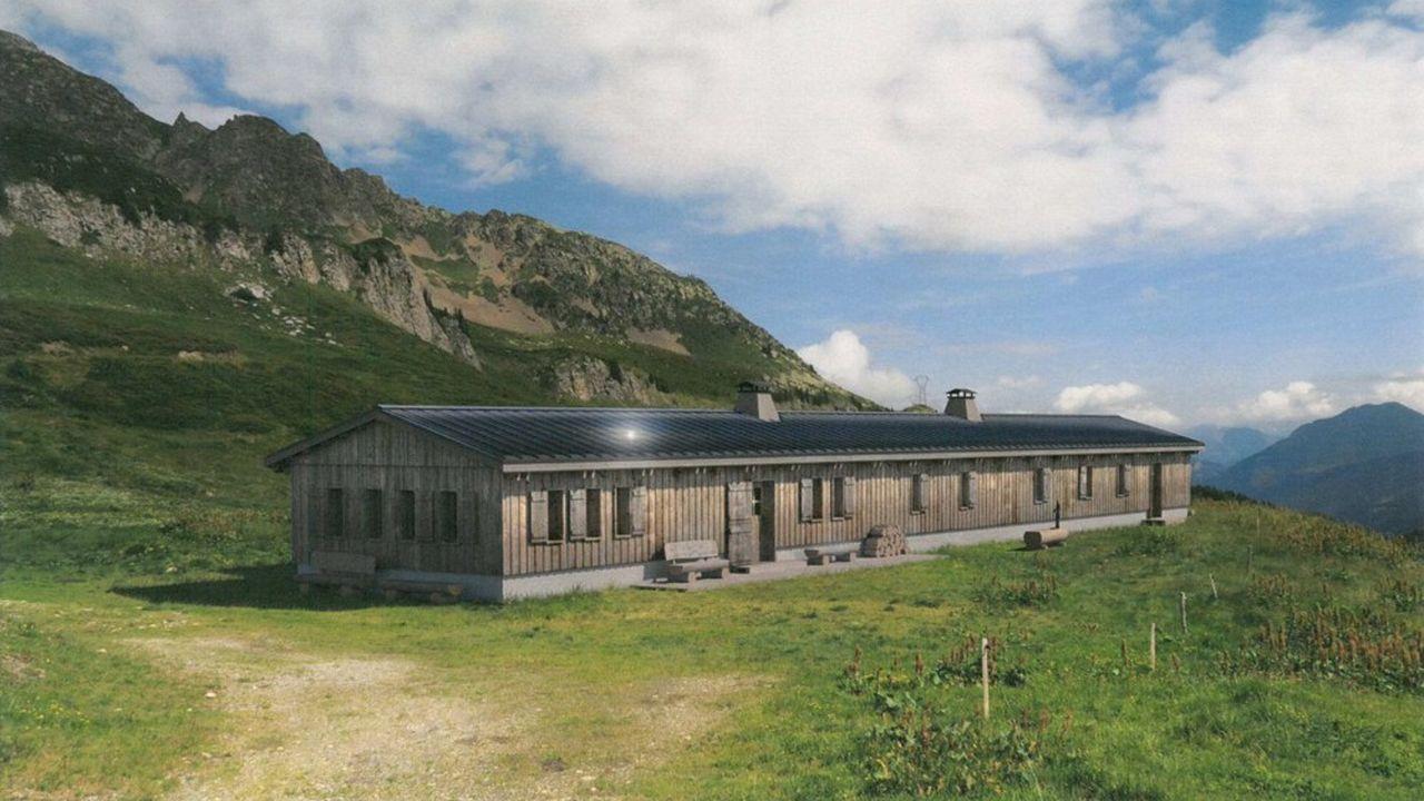 Vue d'architecte du futur refuge des Prés aux Contamines-Montjoie.