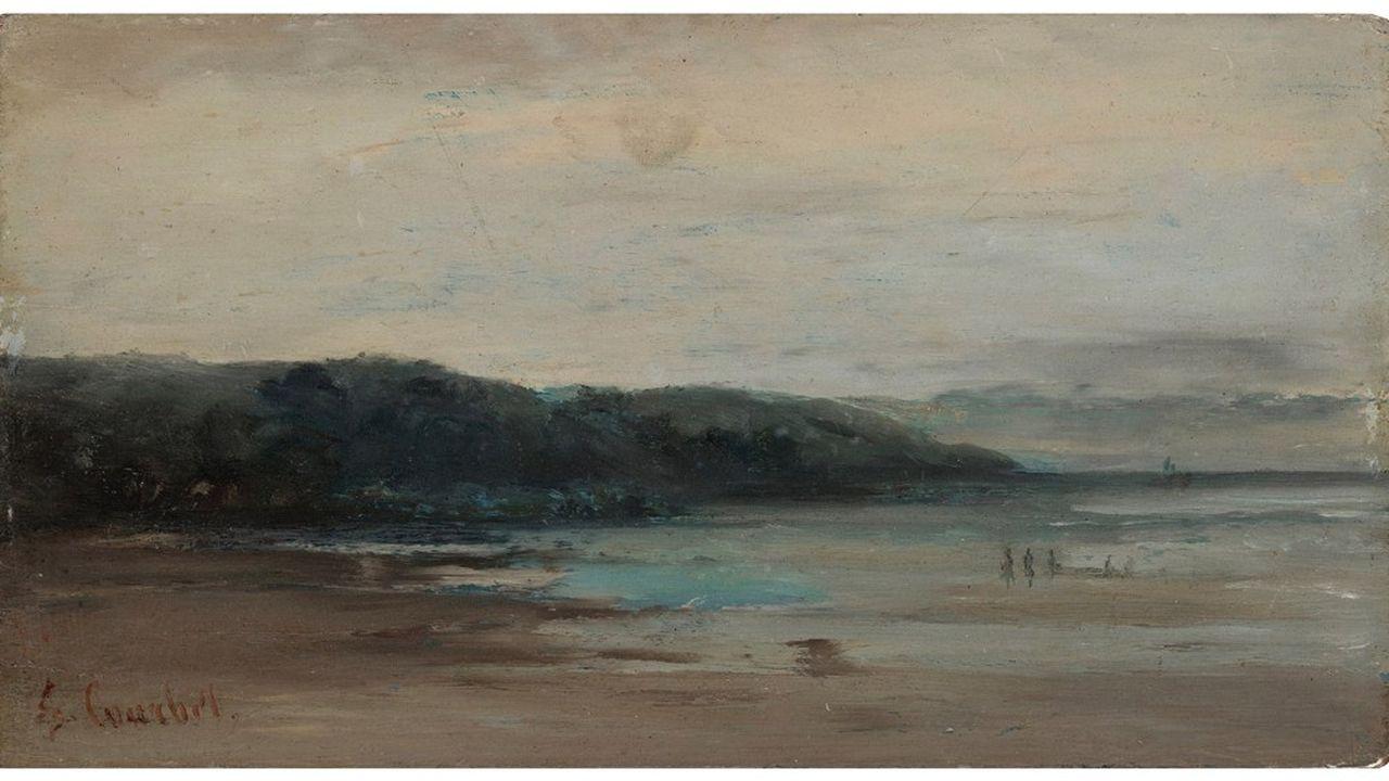 Vue d'une plage vers 1865, Gustave Courbet . Huile sur panneau . 16x29,5 cm