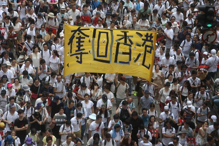 Jusqu'à 2millions de personnes ont manifesté dans les rues de Hong Kong en juin2019.