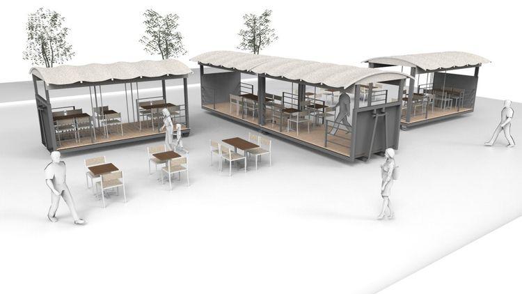 La terrasse de l'architecte Eric Pace permet aux restaurants d'accueillir 350couverts par mois en maintenant la distance entre les clients.