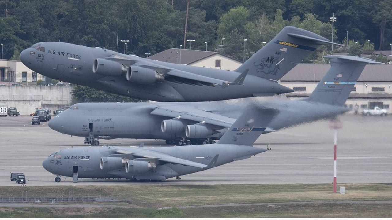 La base aérienne américaine de Ramstein joue un rôle majeur pour le transport d'hommes et d'équipements en Irak et en Afghanistan.