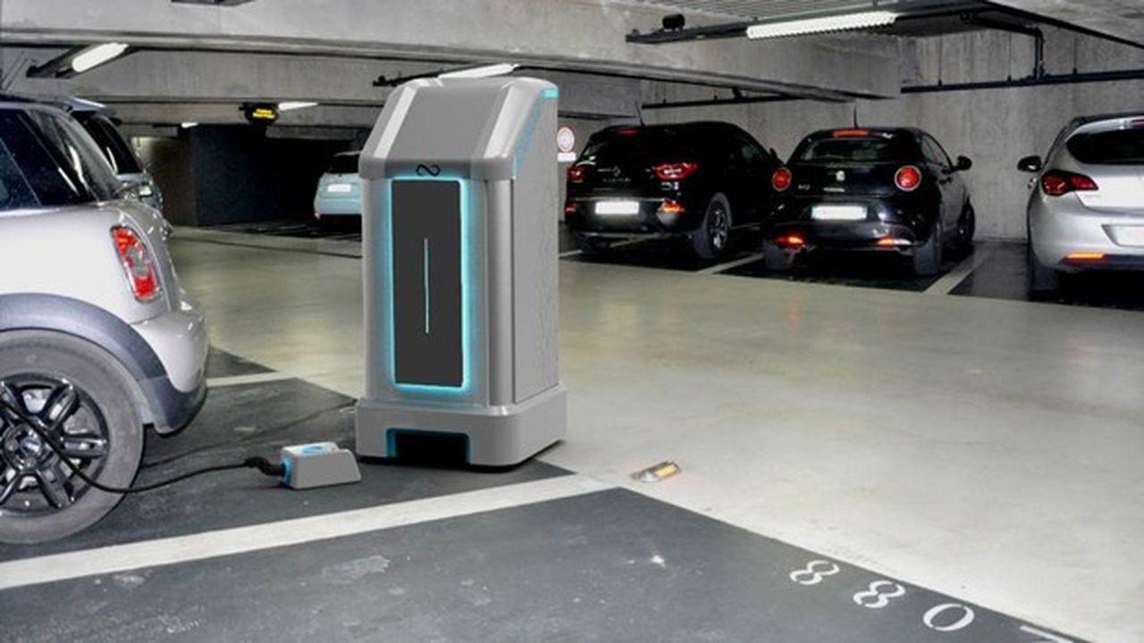 Avec son robot chargeur, Mob-Energy veut permettre aux exploitants de parkings d'optimiser la recharge des véhicules électriques.