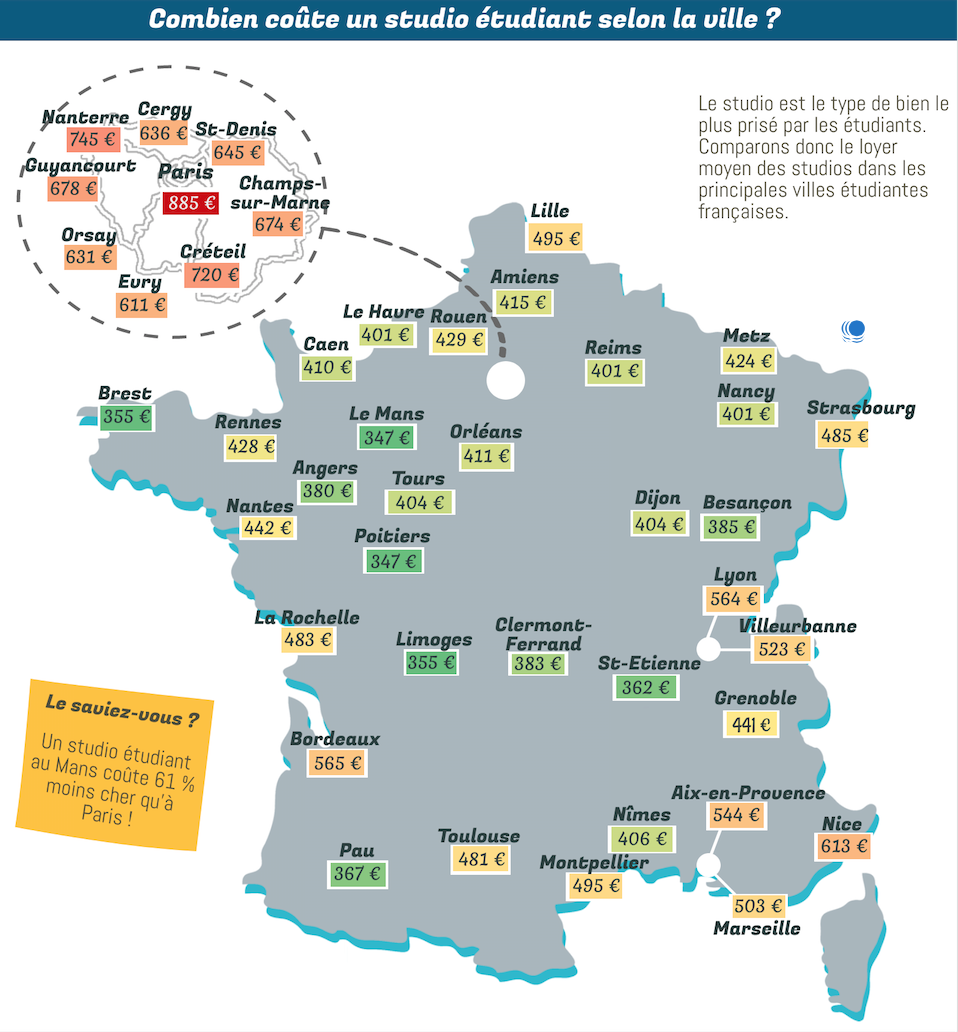 La carte de France du prix des studios