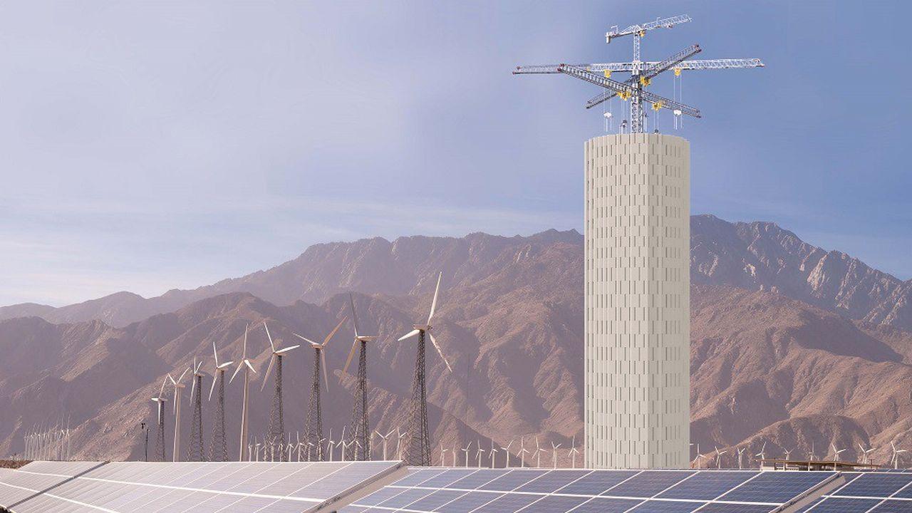 Simulation d'un projet de tour de stockage de la start-up suisse Energy Vault.