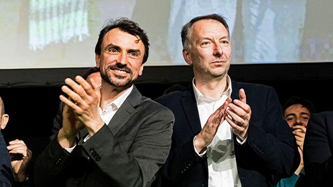 Grégory Doucet, candidat Europe Ecologie Les Verts pour la mairie, et Bruno Bernard, candidat EELVpour la métropole.
