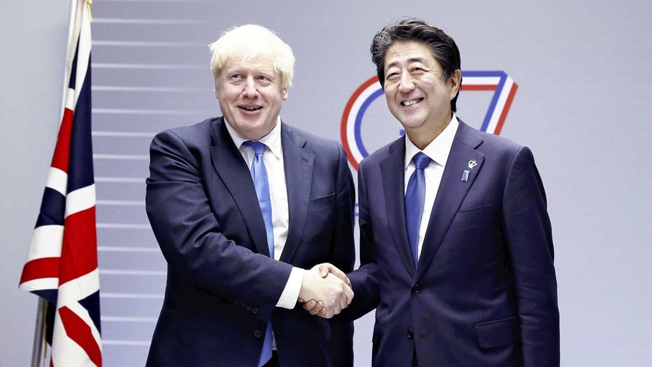 Le Premier ministre britannique, Boris Johnson, et son homologue japonais, Shinzo Abe, au G7 de Biarritz, en août dernier.