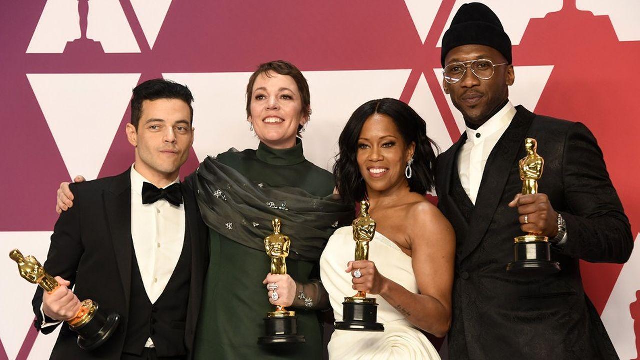Les vainqueurs des Oscars des meilleur acteur, meilleure actrice, meilleur second rôle féminin et meilleursecond rôle masculin: Rami Malek, Olivia Colman, Regina King etMahershala Ali (de gauche à droite)