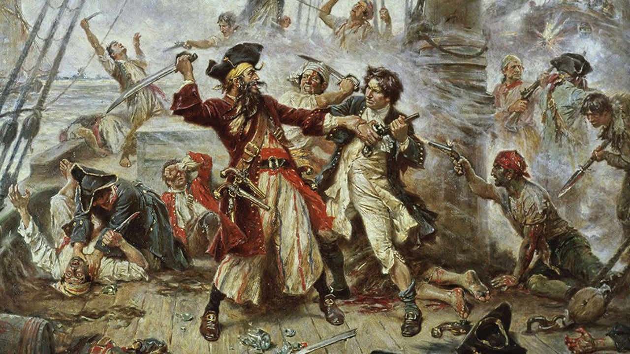 Capturedu pirate Barbe Noire en 1718. Tableaudu peintre américain Jean Leon Gerome Ferris (1863-1930)
