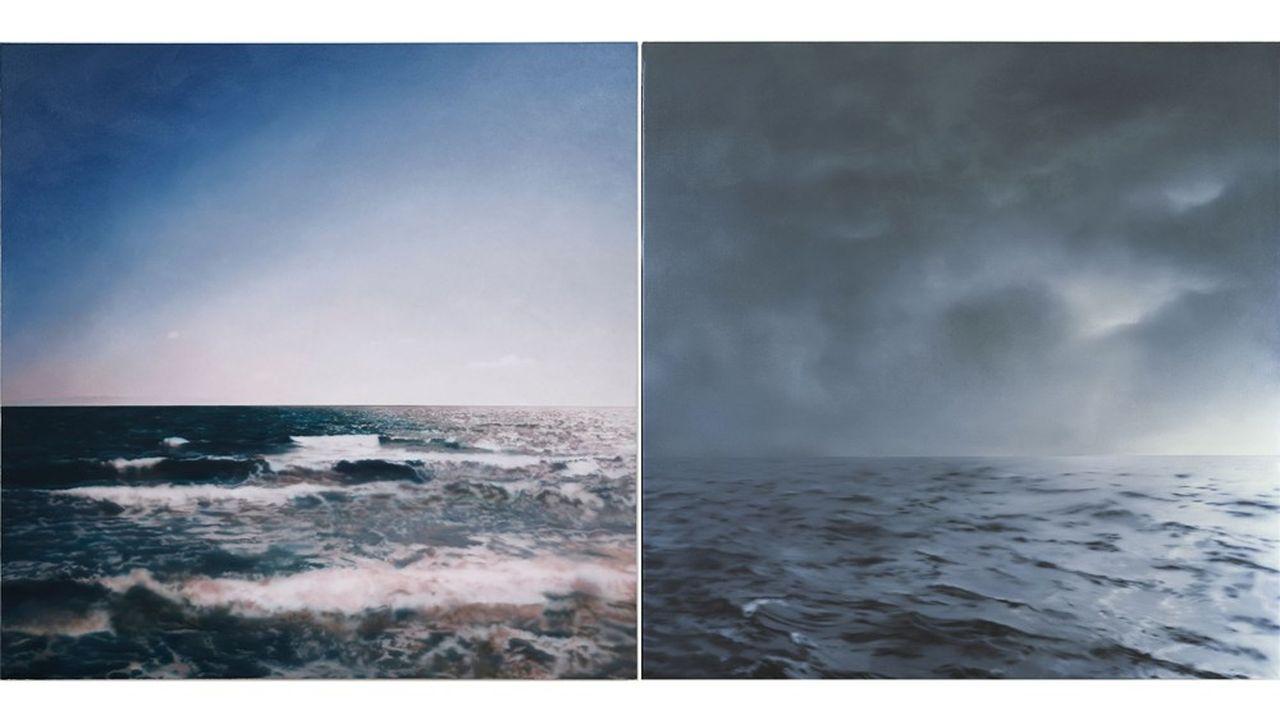 «Marine» de 1998 (à gauche). «Marine» (gris-vert, nuageux) de 1969 (à droite). Huiles sur toile.