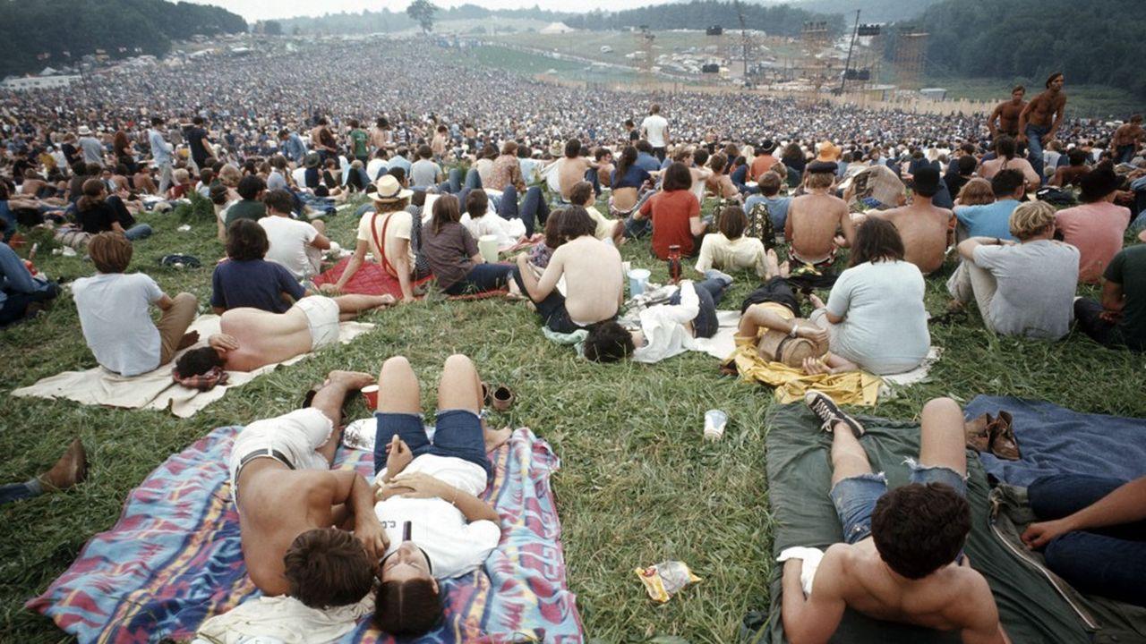 Participants au festival de Woodstock (New York), 1969.