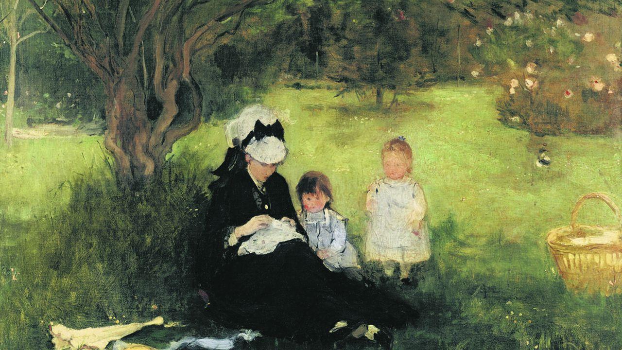 «Femme et enfants sur le gazon», ou «Les Lilas à Maurecourt», une huile sur toile de Berthe Morisot.