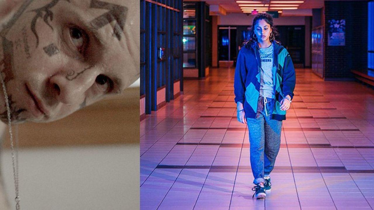 A gauche : Jamie Bell (Bryon) dans « Skin » de Guy Nattiv. A droite : Rhianne Barreto (Mandy) dans « Share » de Pippa Bianco.