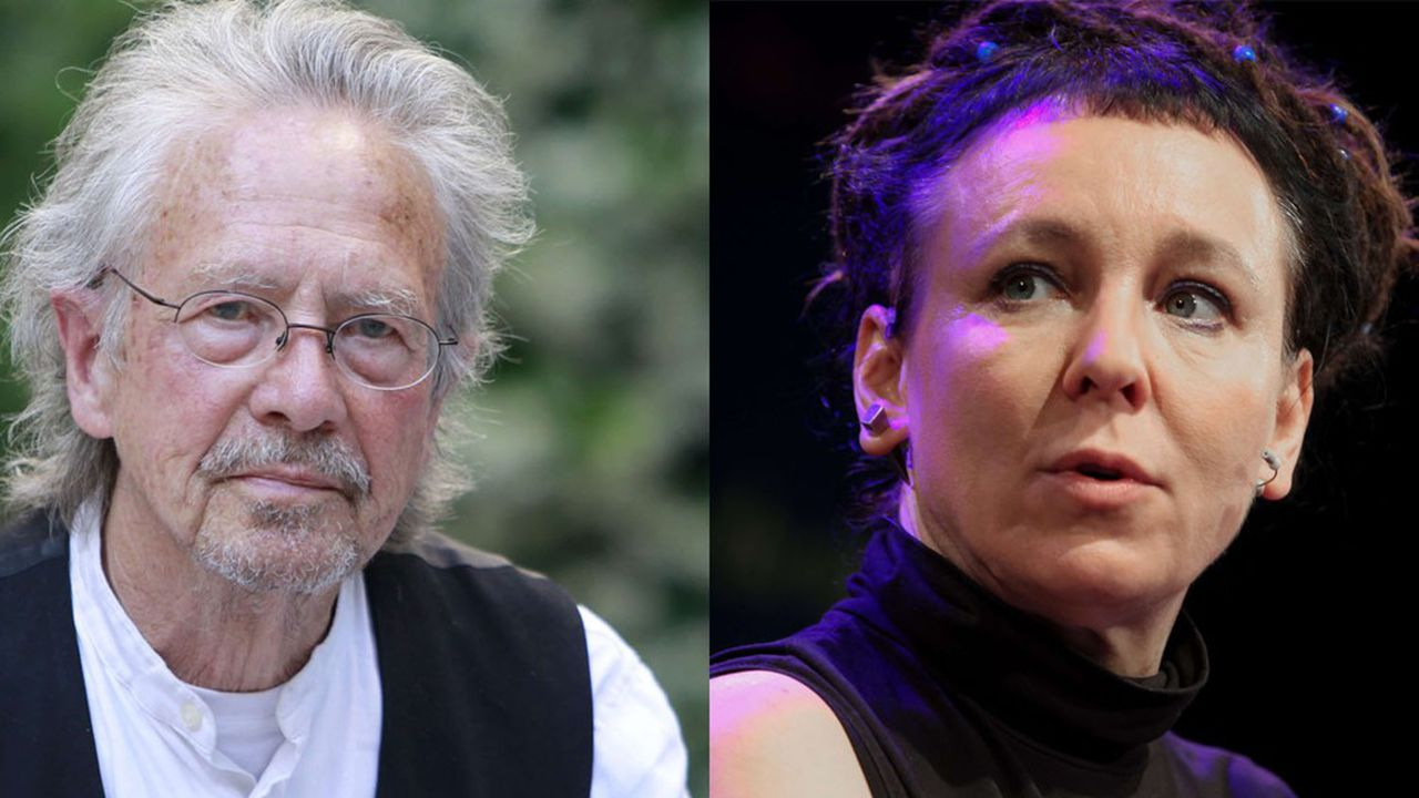 Peter Handke, 76 ans, prix Nobel 2019 etOlga Tokarczuk, 57 ans, prix Nobel 2018.