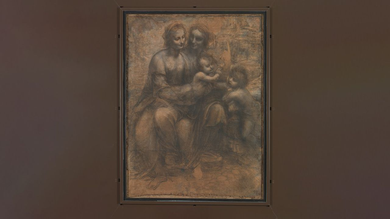 «La Vierge à l'Enfant avec sainte Anne et saint Jean-Baptiste», de Léonard de Vinci.