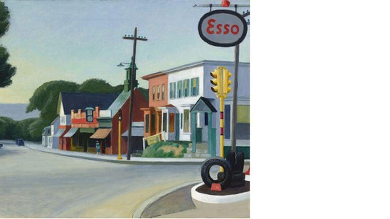 On peut admirer « Portrait of Orleans » de 1950, les abords d'une cité, marquée au premier plan par le logo « Esso » d'une station à essence et un poteau télégraphique qui ne supporte aucun fil.