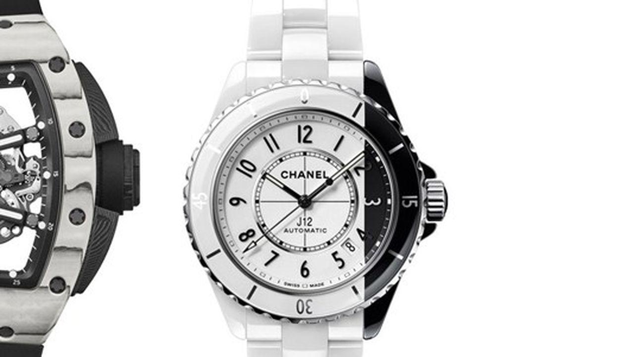 Heures Actuelles : montres noires et blanches