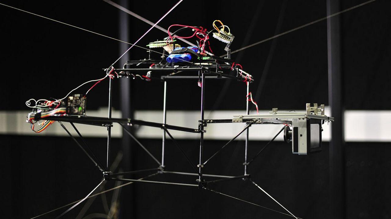 Le robot, une structure métallique en forme de cube de 30centimètres de côté, est guidé par des câbles accrochés aux quatre coins de la pièce pour suivre les mouvements de l'insecte.