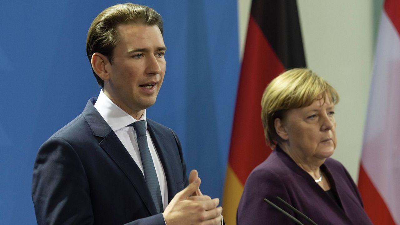 La conditionnalité de l'aide est cruciale pour les Pays-Bas et l'Autriche. Ici le chancelier autrichien Sebastian Kurz aux côtés d'Angela Merkel.