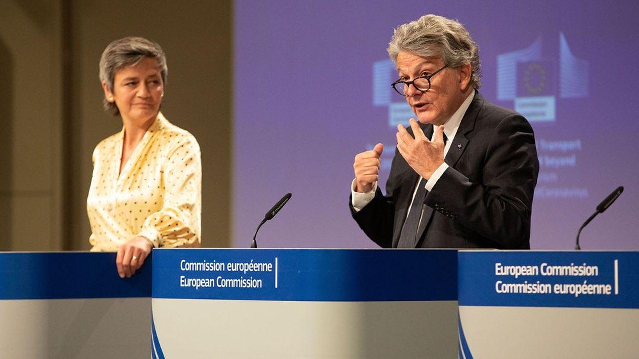 Margrethe Vestager et Thierry Breton vont présenter un«livre blanc» pour engager la réflexion et muscler la défense européenne face aux groupes étrangers dopés par des aides publiques.