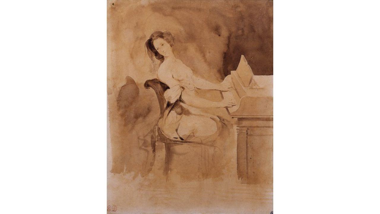 12. Eugène Delacroix, L'amoureuse au piano, XIXesiècle. Pinceau et lavis brun, 21,8 x 17,5cm, Collection Prat.