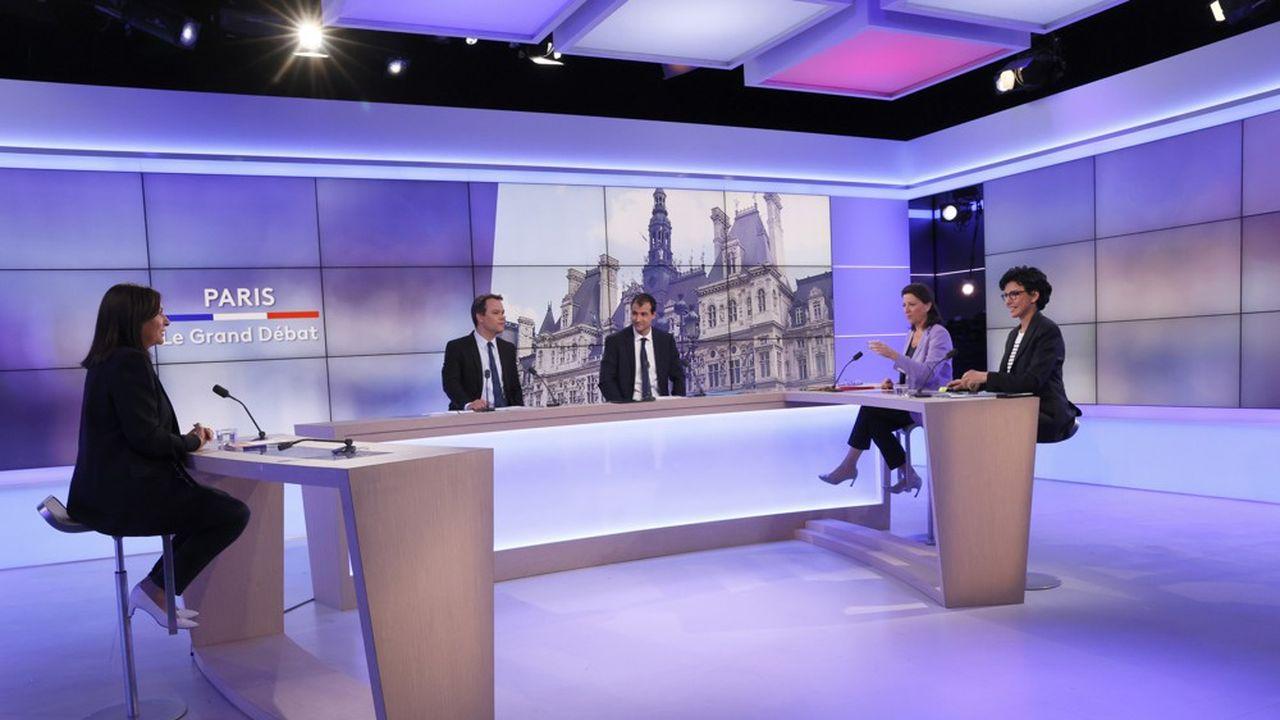 Les trois postulantes à la mairie de Paris pendant le débat mardi.