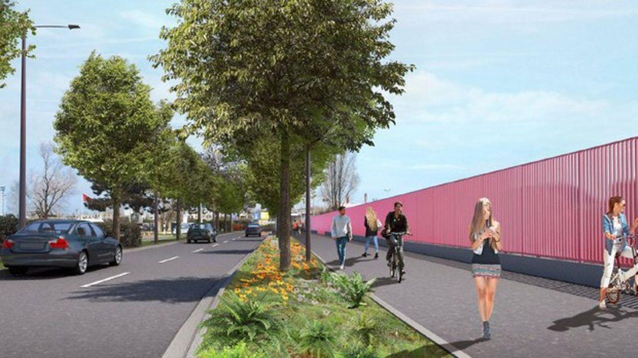 La nouvelle voie verte sur la RD 101 va permettre de créer un espace dédié à la circulation des cyclistes et des piétons.