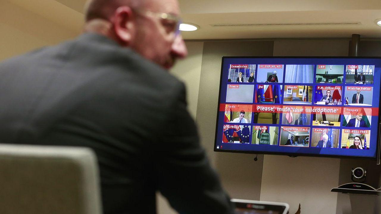Charles Michel, le président du Conseil européen, lors d'une précédente vidéoconférence avec les dirigeants des Vingt-Sept.