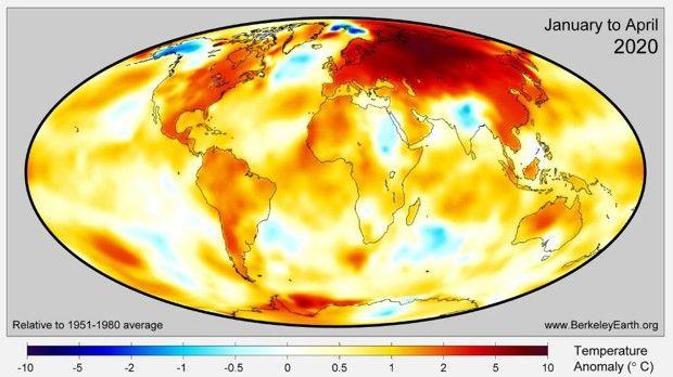 Les écarts de température de janvier à avril par rapport à la moyenne montrent que les anomalies de température les plus importantes se situent en Russie.