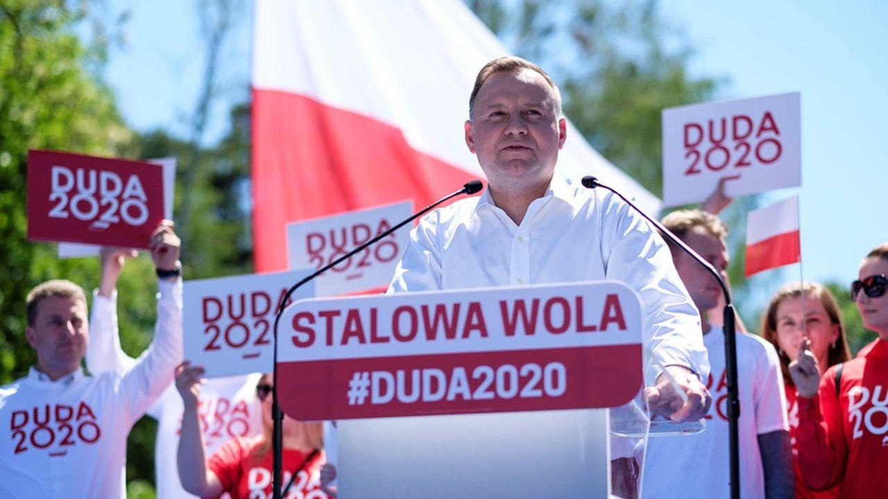 Le président Duda lors d'un meeting le 6juin à Stalowa Wola, une ville de la province des Basses-Carpates dans le sud-est du pays.