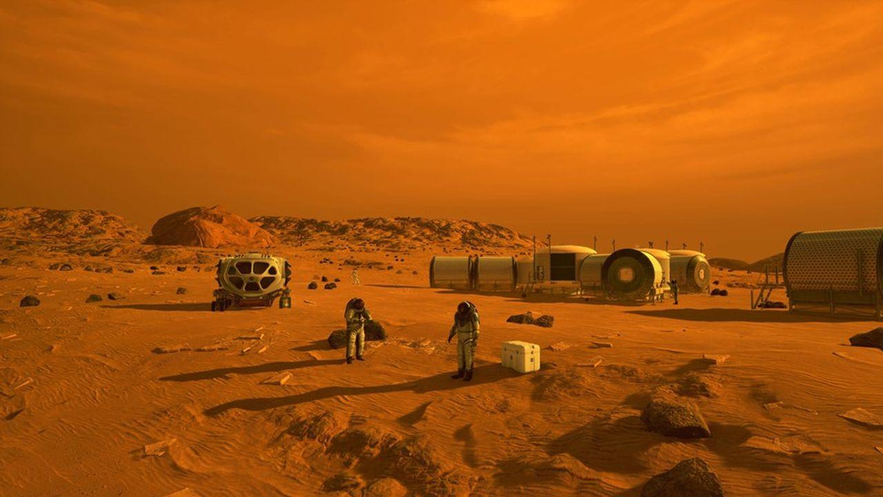 Illustration d'artiste montrant un habitat humain sur Mars.