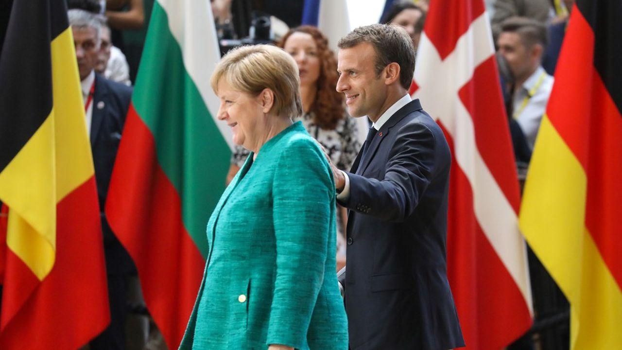 La chancelière allemande et le président Macron lors d'un sommet à Bruxelles.