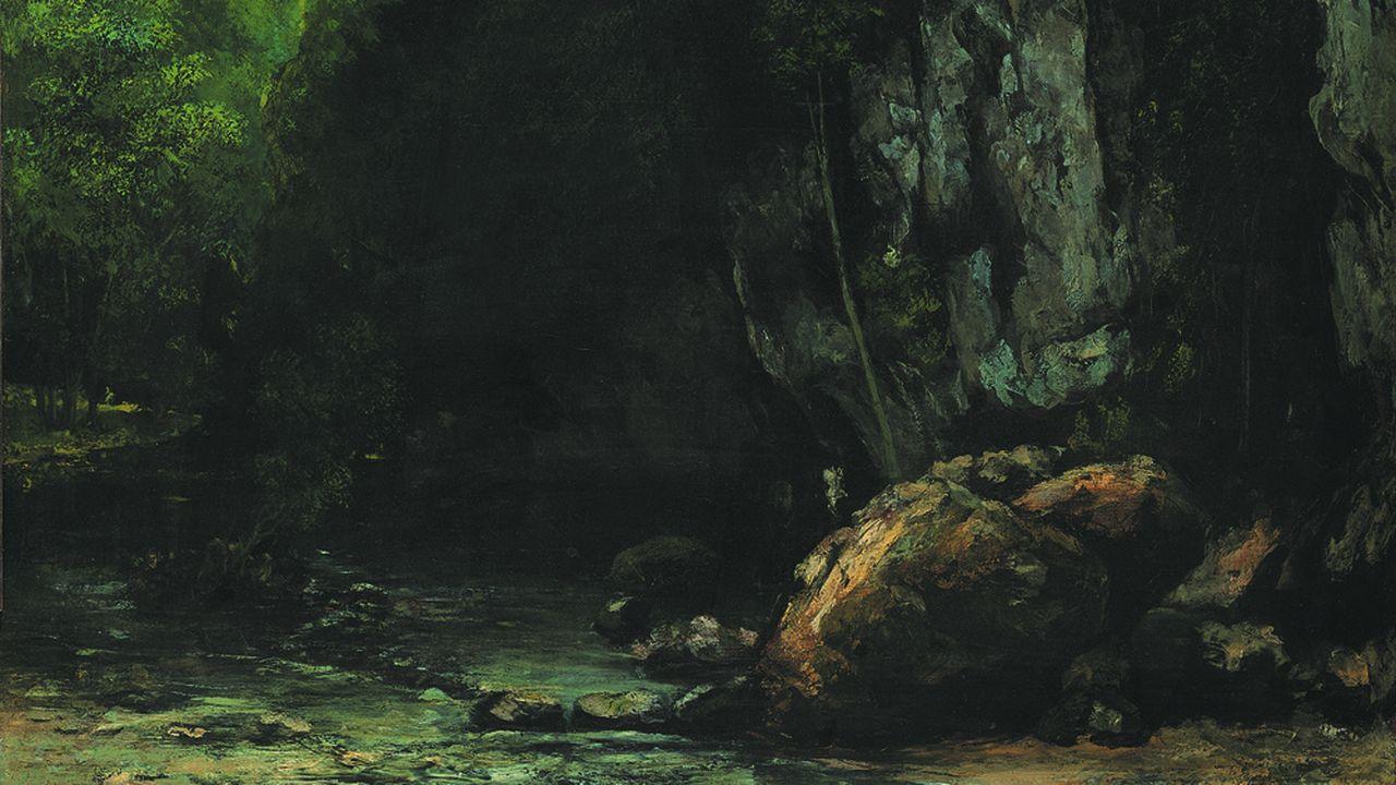«Le Ruisseau du puits noir» peint par Gustave Courbet vers 1865. Sombre paysage…