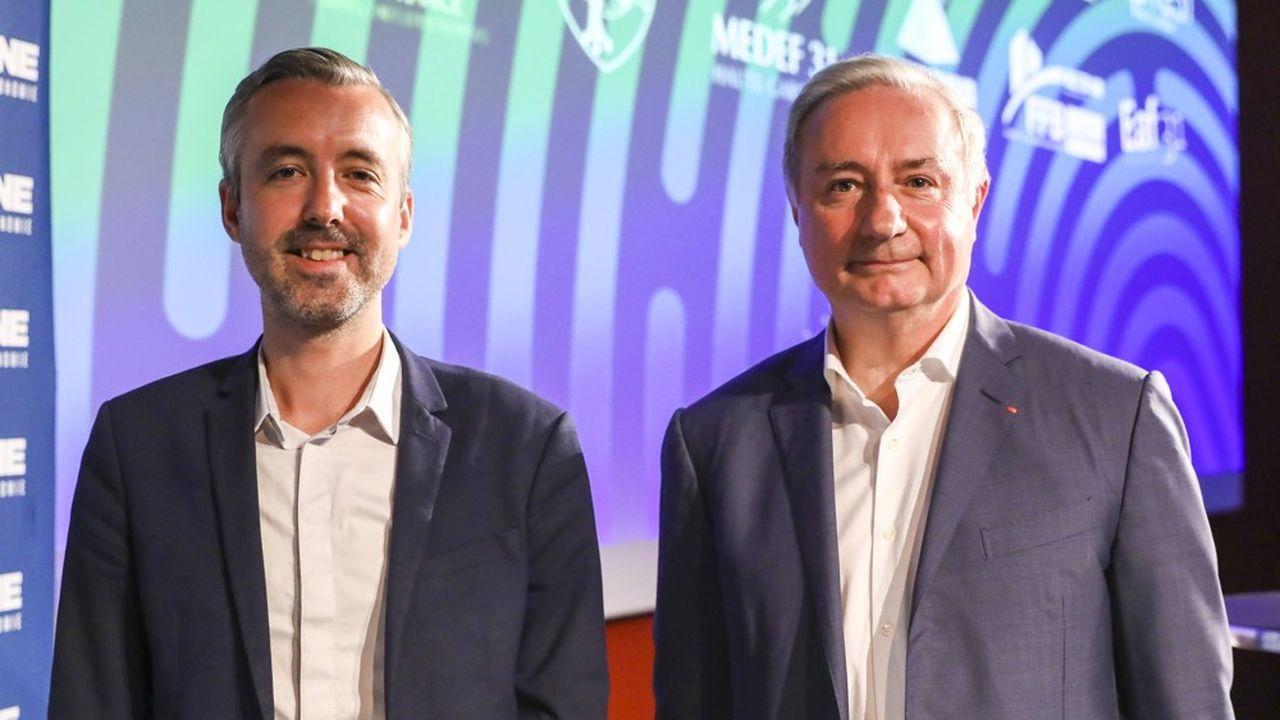 Antoine Maurice, tête de liste d'Archipel citoyen, et Jean-Luc Moudenc, maire sortant LR.