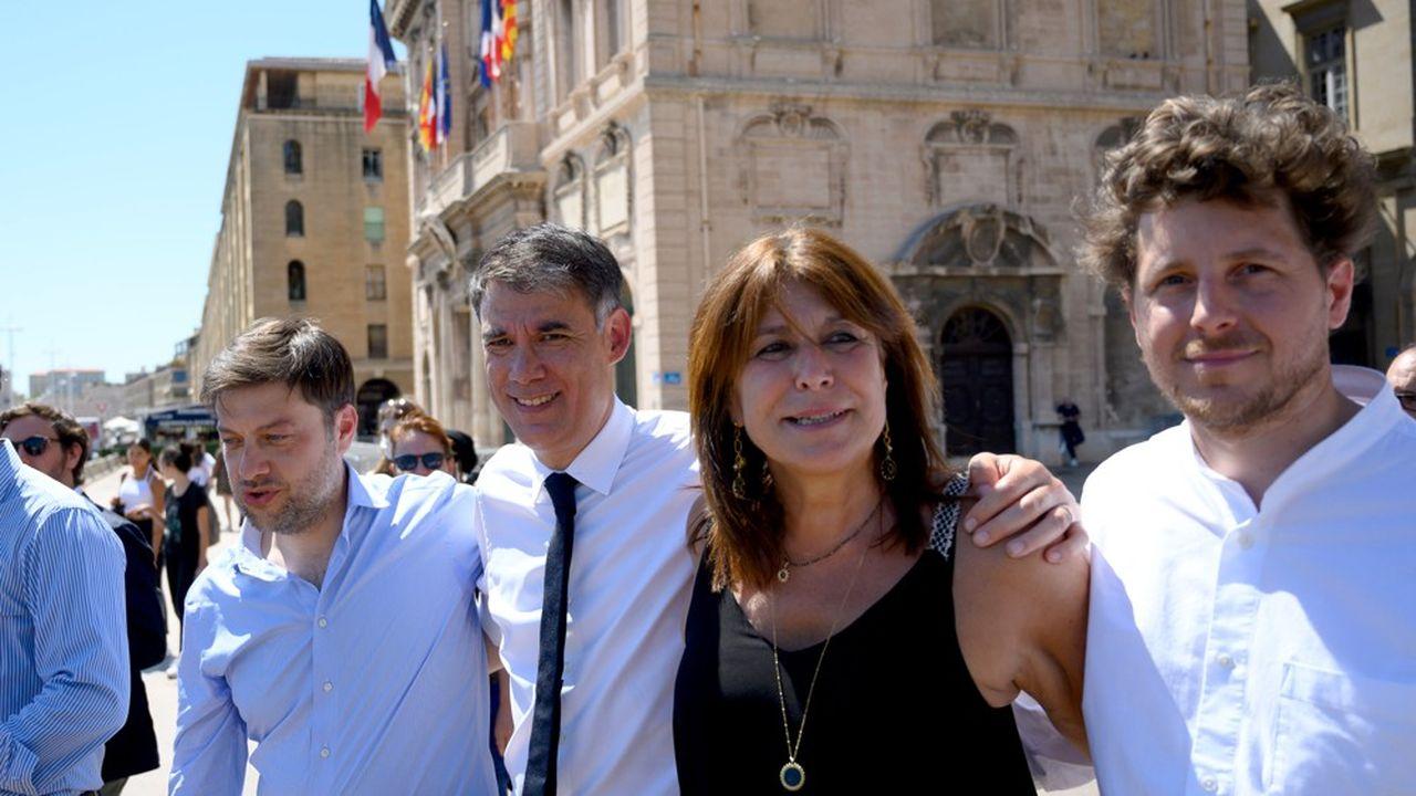 La candidate du Printemps marseillais, Michèle Rubirola, flanquée du premier secrétaire du PS, Olivier Faure, etdu secrétaire national d'Europe écologie-Les Verts, Julien Bayou (à droite sur la photo), le 22juin dernier.