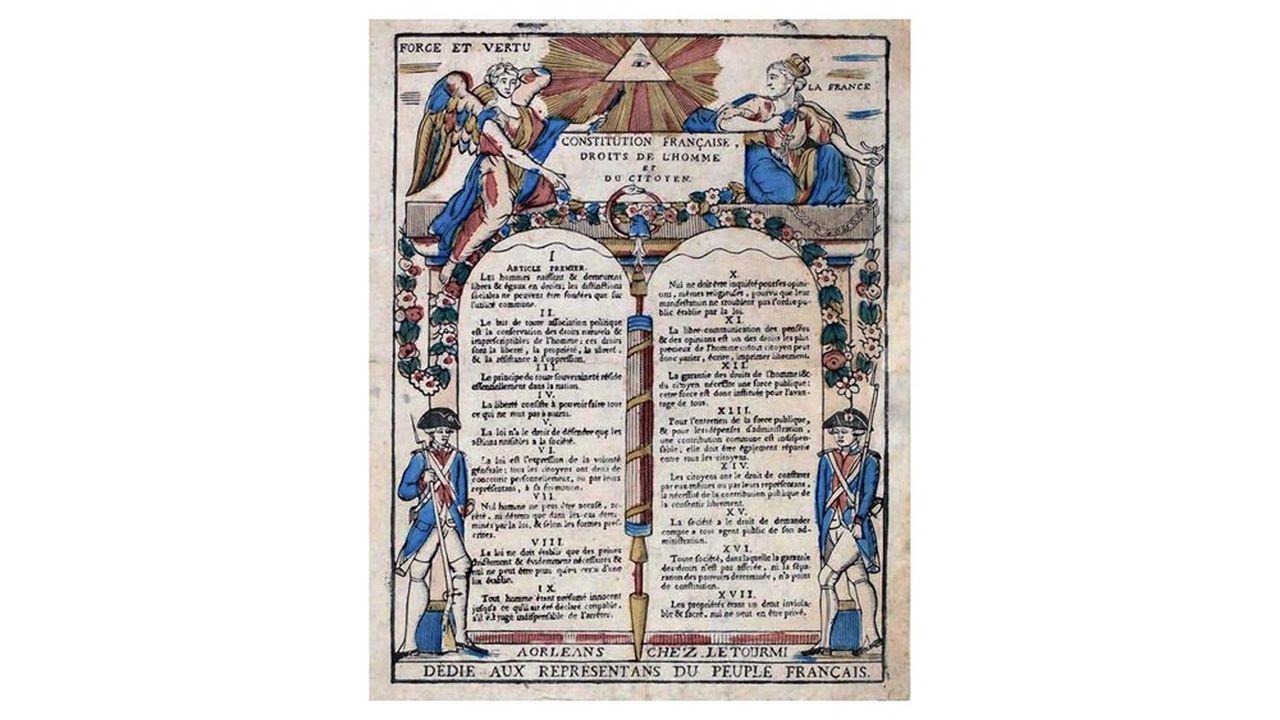 Estampe Déclaration des droits de l'Homme et du citoyen de 17 articles votés par l'Assemblée Constituante en totalité le 26août 1789.