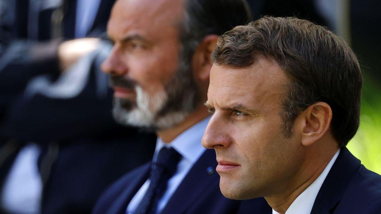 Emmanuel Macron et Edouard Philippe lundi dernier lors de la rencontre avec les 150membres de la Convention citoyenne pour le climat.