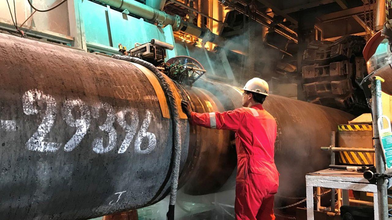 Le gazoduc de 1.200km Nord Stream 2, posé au fond de la mer Baltique, est achevé à 94%. Seule une portion de 160km dans les eaux danoises reste à installer.
