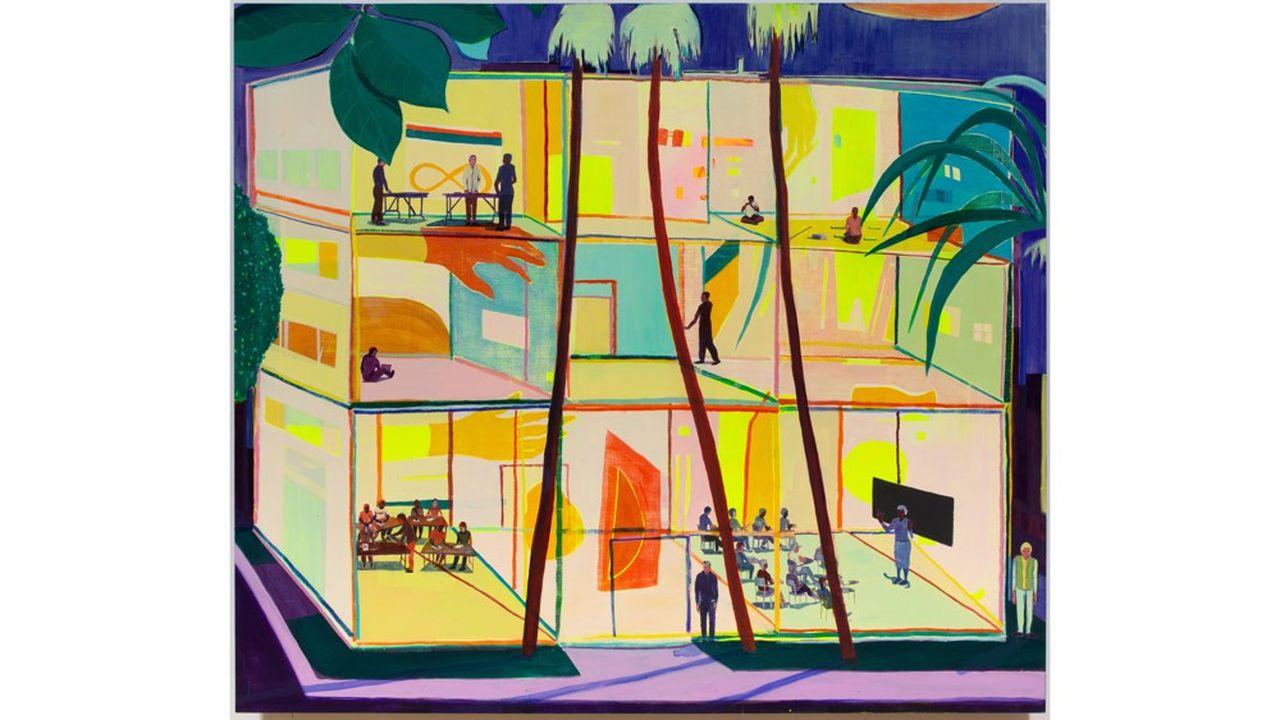 Jules de Balincourt. «They each had their Lesson», 2020. Huile sur panneau. 203,2x117,8cm. Galerie Thaddaeus Ropac. Paris